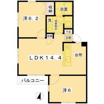 1st.hills 2-C 間取り